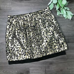 CLUB MONACO | sz 2 gold dot mini skirt silk blend